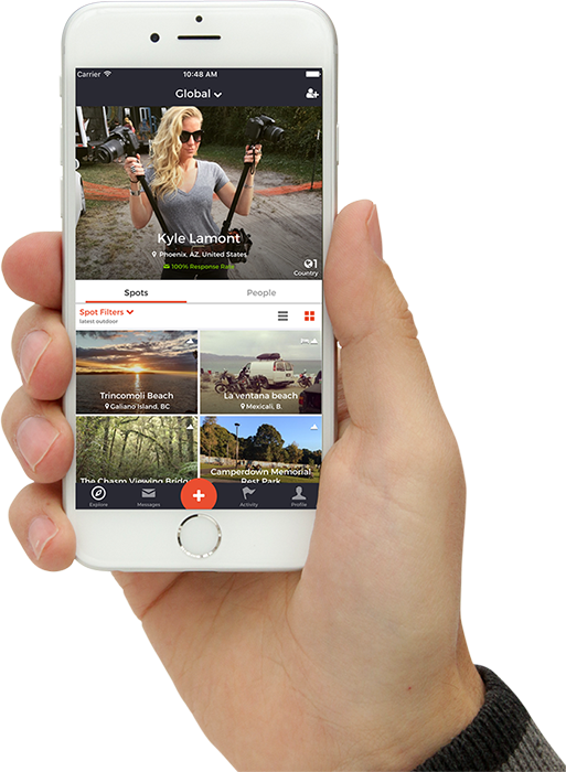 travelstoke app in a person's hand
